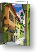 Streetscape Greeting Cards - Chesky Krumlov Street Nove Mesto Greeting Card by Yuriy  Shevchuk