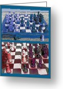 Checkmate Mixed Media Greeting Cards - Chess Board - Game in Progress Diptych Greeting Card by Steve Ohlsen