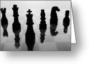 Pawn Greeting Cards - Chess Board And Pieces Greeting Card by Jon Schulte