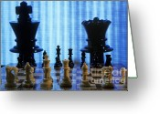 Game Piece Greeting Cards - Chess board with King and Queen chess pieces in front of TV scre Greeting Card by Sami Sarkis