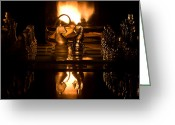 Oil Lamp Greeting Cards - Chess Knights and Flame Greeting Card by Lori Coleman