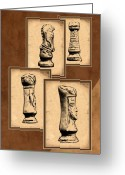 Game Piece Greeting Cards - Chess Pieces Greeting Card by Tom Mc Nemar