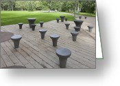 Park Benches Greeting Cards - Chess Tables at a Park Greeting Card by Jaak Nilson