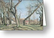 Bare Trees Painting Greeting Cards - Chestnut Trees at Louveciennes Greeting Card by Camille Pissarro