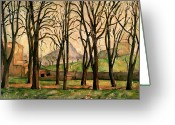 Post-impressionist Greeting Cards - Chestnut trees at the Jas de Bouffan Greeting Card by Paul Cezanne