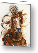 Running Horse Painting Greeting Cards - Cheval arabe monte en action Greeting Card by Josette SPIAGGIA
