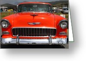 Transportation Greeting Cards - Chevrolet Bel-Air Stationwagon . Orange . 7D15270 Greeting Card by Wingsdomain Art and Photography