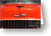 Transportation Greeting Cards - Chevrolet Bel-Air Stationwagon . Orange . 7D15271 Greeting Card by Wingsdomain Art and Photography