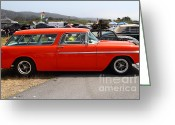 Transportation Greeting Cards - Chevrolet Bel-Air Stationwagon . Orange . 7D15272 Greeting Card by Wingsdomain Art and Photography