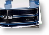 Muscle Photo Greeting Cards - Chevrolet Chevelle SS Grille Emblem 2 Greeting Card by Jill Reger