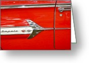 Street Rod Photo Greeting Cards - Chevrolet Impala Classic in Red Greeting Card by Carolyn Marshall