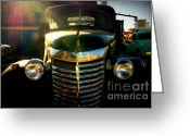 The Mother Road Greeting Cards - Chevrolet on Route 66 Greeting Card by Susanne Van Hulst