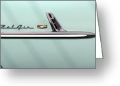 Street Rod Greeting Cards - Chevy Belair Trim - 4 Door Greeting Card by Mike McGlothlen