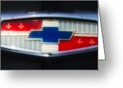 Classic Auto Greeting Cards - Chevy Emblem Greeting Card by Bill Cannon