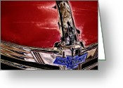 Automobile Hood Greeting Cards - Chevy Grill Greeting Card by David Patterson