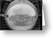 Monochrome Hot Rod Greeting Cards - Chevy Tail Light Greeting Card by Chalet Roome-Rigdon