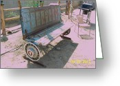 Landscapes Sculpture Greeting Cards - Chevy Tailgate bench Greeting Card by JP Giarde