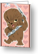 Luke Skywalker Greeting Cards - Chewaka Greeting Card by Javier Bernardino