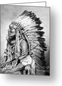 Native American Indians Drawings Greeting Cards - Cheyenne Greeting Card by Maria DAngelo