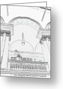 Staircase Greeting Cards - Chicago Art Institute Grand Staircase Greeting Card by David Bearden