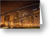 Midwest Greeting Cards - Chicago at night Greeting Card by Andreas Freund