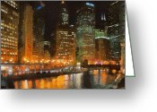 Reflected Greeting Cards - Chicago at Night Greeting Card by Jeff Kolker