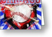 Baseball  Digital Art Greeting Cards - Chicago Baseball Abstract Greeting Card by David G Paul