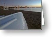 Lake Michgan Greeting Cards - Chicago beach and skyline Greeting Card by Sven Brogren