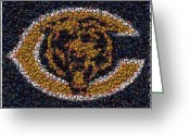 Bottle Cap Greeting Cards - Chicago Bears Bottle Cap Mosaic Greeting Card by Paul Van Scott