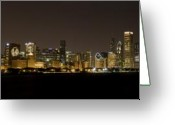 Stanley Cup Greeting Cards - Chicago Black Hawks Skyline Greeting Card by Patrick  Warneka