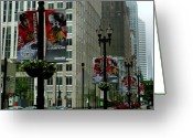 Stanley Greeting Cards - Chicago Blackhawk Flags Greeting Card by Ely Arsha