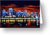 Skylines Painting Greeting Cards - Chicago by Black Light Greeting Card by Thomas Kolendra