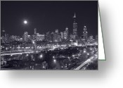 Building Greeting Cards - Chicago By Night Greeting Card by Steve Gadomski