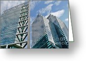 Tall Buildings Greeting Cards - Chicago - City of Big Shoulders Greeting Card by Christine Till