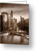 Train Photo Greeting Cards - Chicago City View Afternoon B and W Greeting Card by Steve Gadomski
