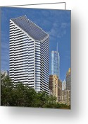 Roof Greeting Cards - Chicago Crain Communications Building - former Smurfit-Stone Greeting Card by Christine Till