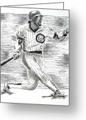 National Drawings Greeting Cards - Chicago Cub Leon Durham Greeting Card by Vincent Wolff