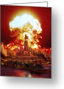 Cataclysm Greeting Cards - Chicago Disintegrates As A Nuclear Greeting Card by Ron Miller