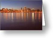 Lake Michgan Greeting Cards - Chicago dusk skyline panoramic  Greeting Card by Sven Brogren