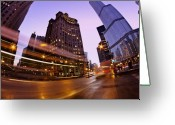 Trump Greeting Cards - Chicago dusk time exposure Greeting Card by Sven Brogren