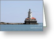 Lighthouse Tower Greeting Cards - Chicago Harbor Light Greeting Card by Christine Till