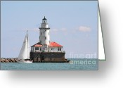 Christine Greeting Cards - Chicago Harbor Lighthouse Greeting Card by Christine Till