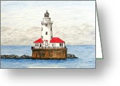 Colored Pencil Greeting Cards - Chicago Harbor Lighthouse Greeting Card by Frederic Kohli