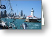 Flag Pyrography Greeting Cards - Chicago Harbor Lighthouse Greeting Card by Sonia Flores Ruiz