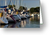 Lake Michgan Greeting Cards - Chicago Harbor Scene Greeting Card by Sven Brogren
