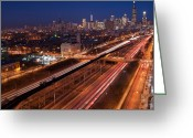 Traffic Greeting Cards - Chicago Illumina Greeting Card by Steve Gadomski