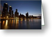 Lake Michgan Greeting Cards - Chicago lake and skyline at dusk Greeting Card by Sven Brogren