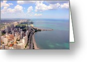 Aerial View Greeting Cards - Chicago Lake Greeting Card by Luiz Felipe Castro
