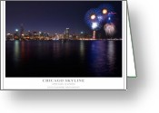 4th Photo Greeting Cards - Chicago Lakefront Skyline Poster Greeting Card by Steve Gadomski