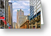 Gabled Greeting Cards - Chicago - Looking south from LaSalle Street Greeting Card by Christine Till